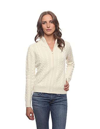 3aec15d152099 Invisible World Women s 100% Cashmere Cardigan Open Cable Knit Zip Up White  XS
