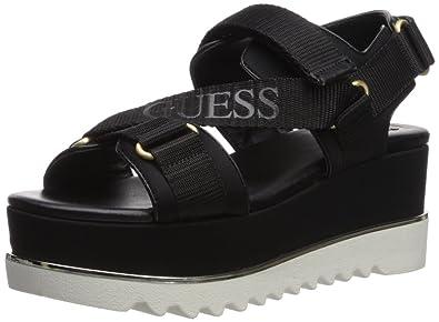 2c9a5d94df79b GUESS Women s LAURETA Wedge Sandal Black 8.5 Medium US
