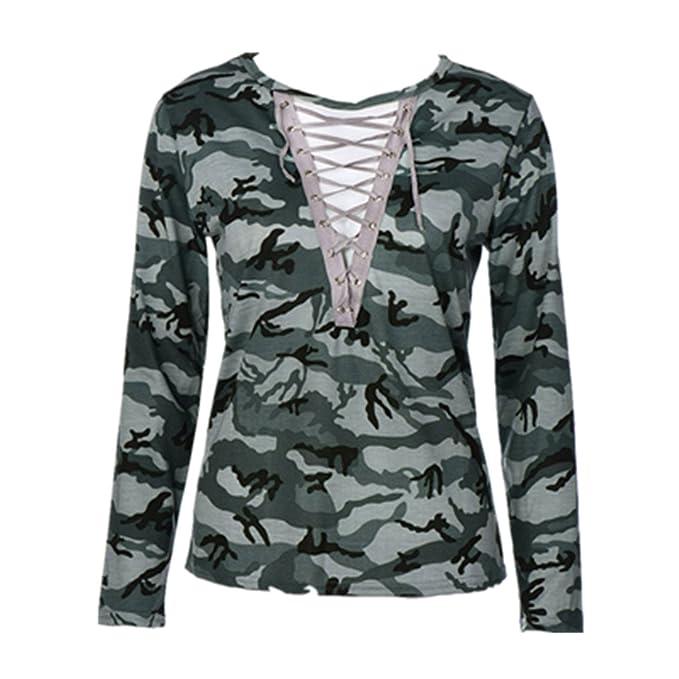 NINGNETI Moda Mujeres Camiseta de Manga Larga Slim Casual Tops Blusa de Estampado de Camuflaje: Amazon.es: Ropa y accesorios