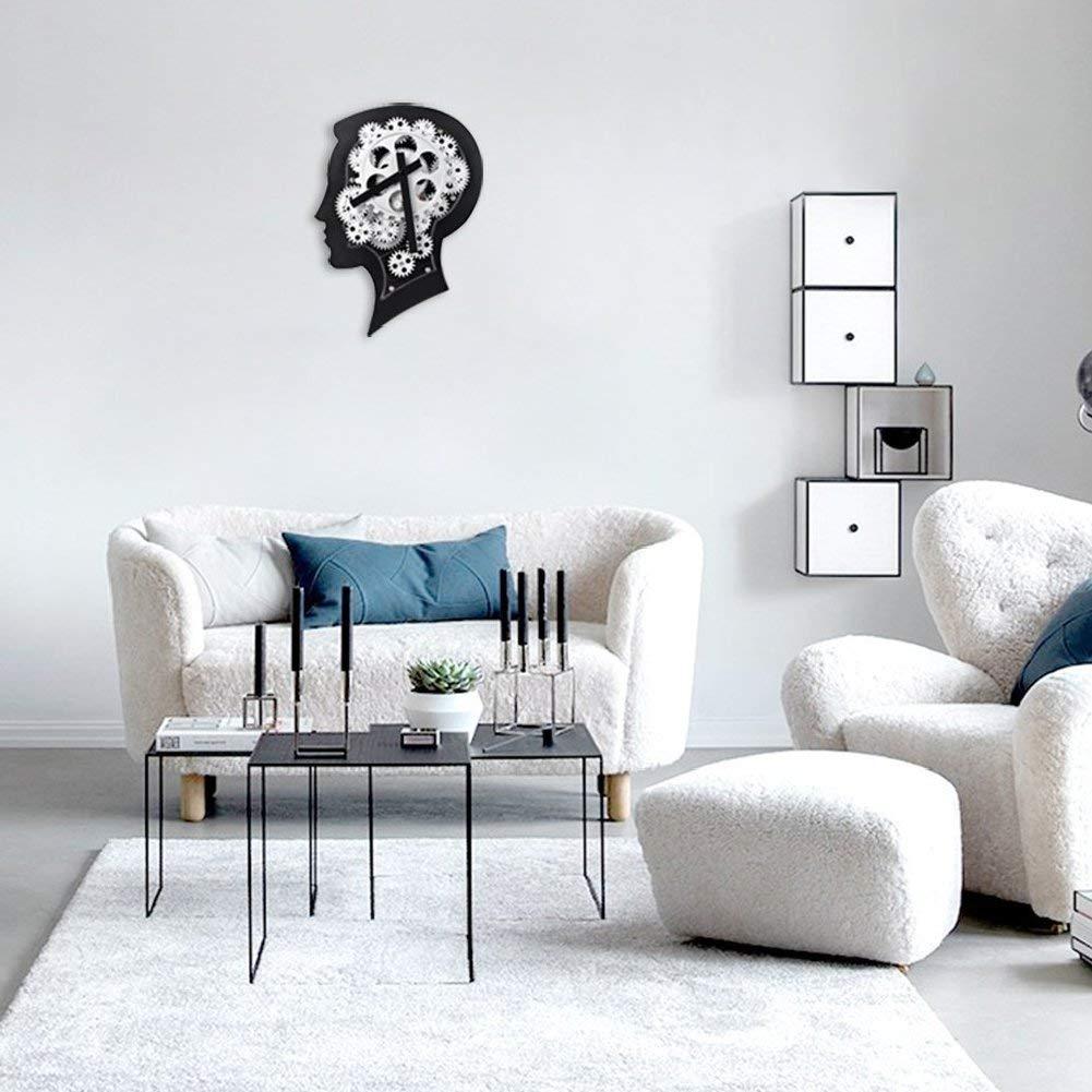 Noiseless Smart Brain 3D Gear Clock Gear Clock Black by Ashnna Bar Decorative with Premium Plastic Moving Clock for Office Home Silent 12.2 x 8.7 Moden Living Room Decor