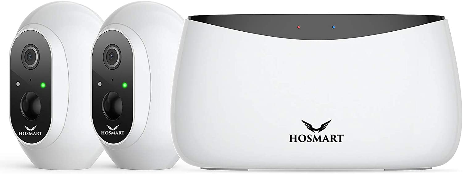HOSMART Wireless Home Security Camera, Indoor/Outdoor Security Cameras Night Vision Motion Detection, Will Send an Alert to Your Smart Phone, Two-Way Talk, (2 Camera Kit)