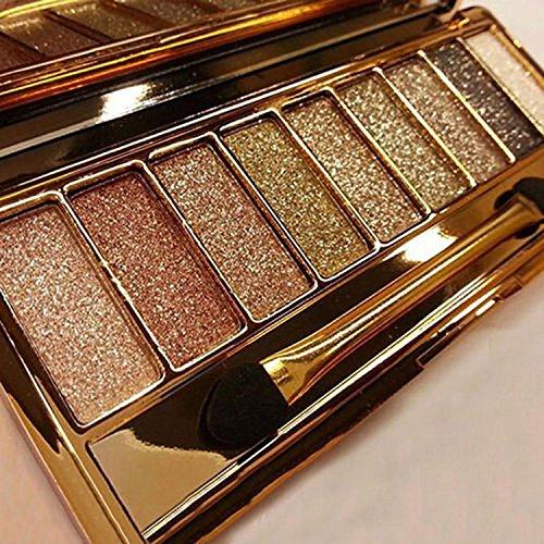 Olseti 9 Colors Glitter Eyeshadow Palette Waterproof Diamond Bright Makeup Eye Shadow Set with Brush