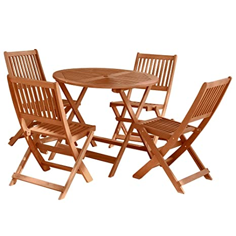 Conjunto de Mesa y sillas para terraza marrón de Madera ...