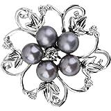 【ノーブランド品】 ファッション 女性 ブライダル 結婚式 花 ラインストーン ブローチピン 贈り物