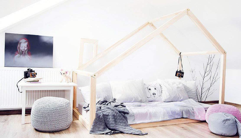 Best For Kids Hausbett Bergen Kinderbett Kinderhaus Jugendbett Natur Haus Holz Bett in viele Größen 70x140cm-160x200cm(80x200cm)