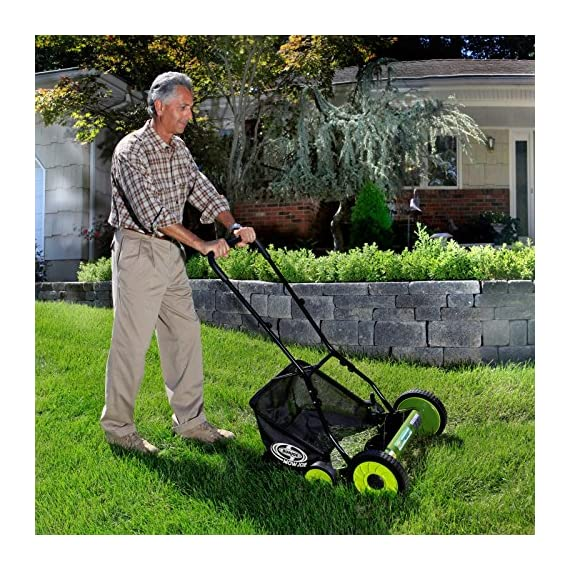 Sun Joe Manual Reel Mower 3 Steel frame and blades 18 inch wide cutting path 9-position height control