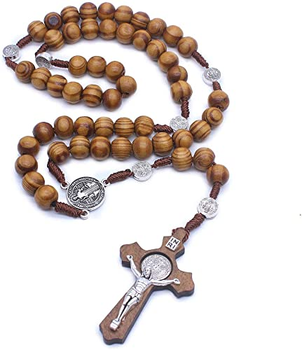 Mens Rosary Beads Beaded Necklace Fashion Jewellery Chain Wooden Necklace
