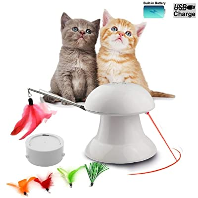 FIRIK Cat Toy 2 in 1 USB Charged Automatic Rotating Light Exercise Chaser Toy and Interactive Feather Toy