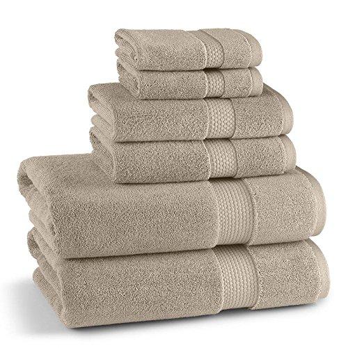Kassatex Monarch 6 Piece Towel Set: 2 Bath, 2 Hand, 2 Washcloth - 100% Turkish cotton - Marble Tan