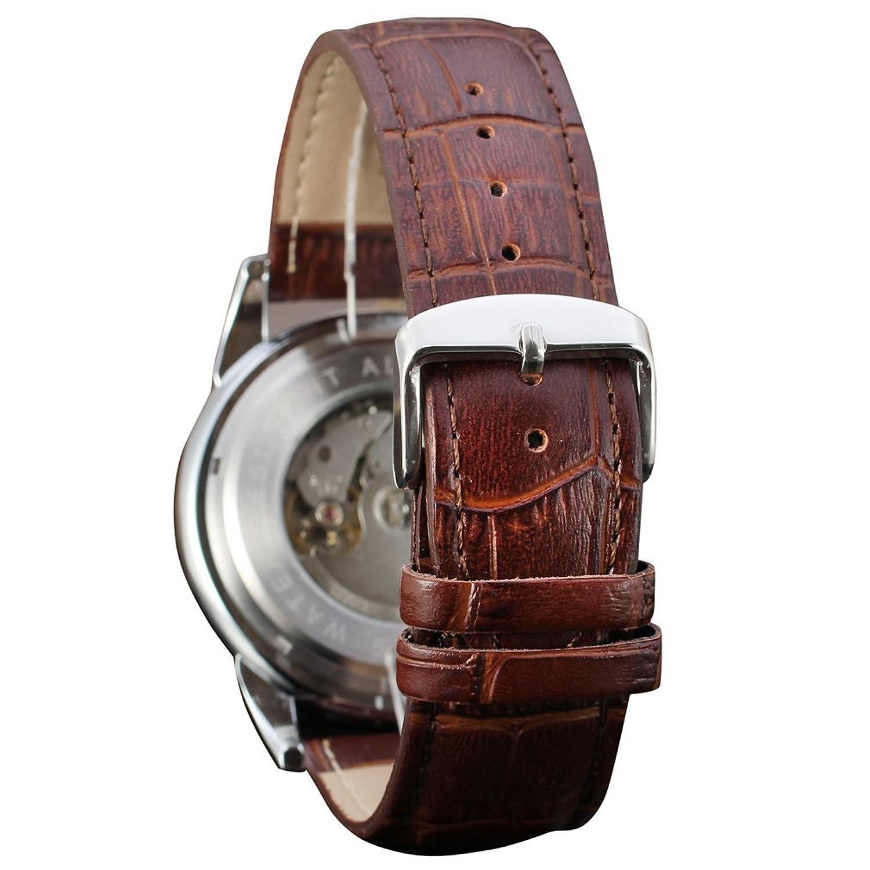 forsining fase de la luna automático alta gama de hombre piel reloj de muñeca fsg319 m3t1: Amazon.es: Relojes