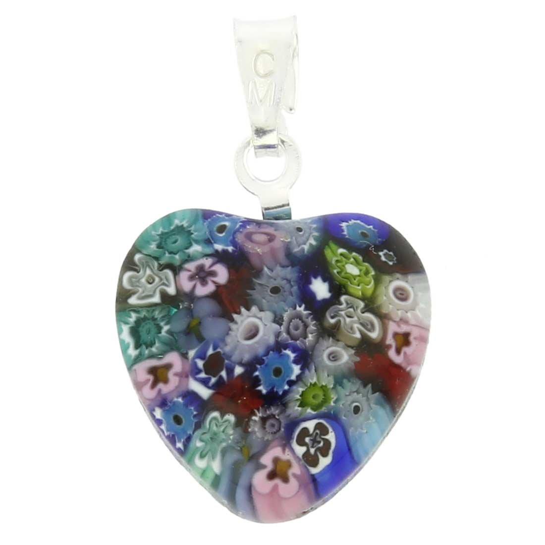 GlassOfVenice Murano Glass Millefiori Heart Pendant - Silver