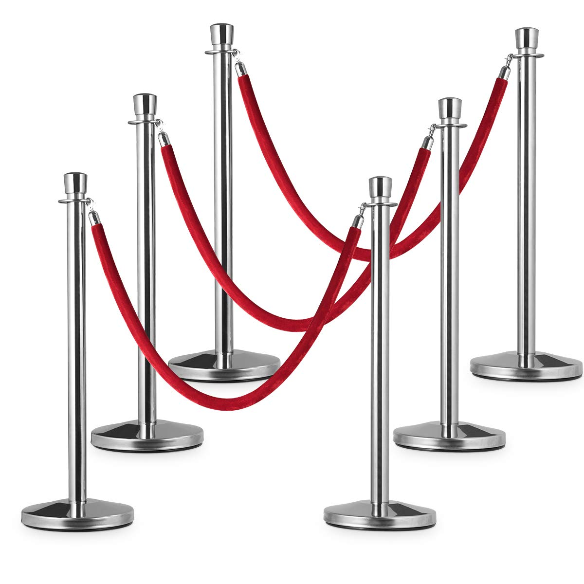 Goplus 6pcs Stanchion Set, Crowd Control Barrier Stainless Steel Stanchion Posts Queue Pole with 5Ft Velvet Rope, Suitable for Theaters, Party, Wedding Exhibition Centers, Ticket Offices (Silver)