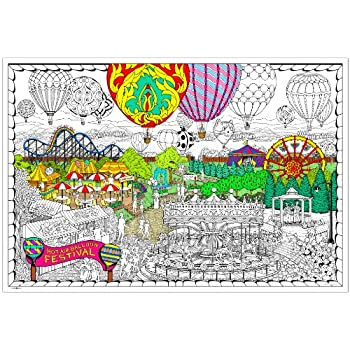 Amazon.com: Balloon Festival- Giant Wall Size Coloring Poster ...