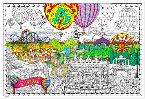 Balloon Festival- Giant Wall Size Coloring Poster - 32.5'' X 22'' (Great for Family Time, Adults, Kids, Classrooms, Care Facilities and Group Activities - Includes Reusable Rigid Storage Tube) by Stuff2Color