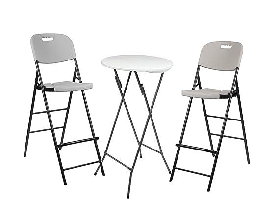 Stabile tavolo tavolo Ø 60 cm e 2 sgabello da bar pieghevole