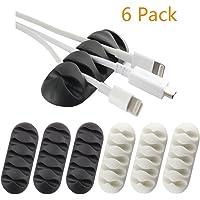USport 6 Pcs Practical Five-hole Cable Organiser and Cord Management Desktop Clamps (Random Color)