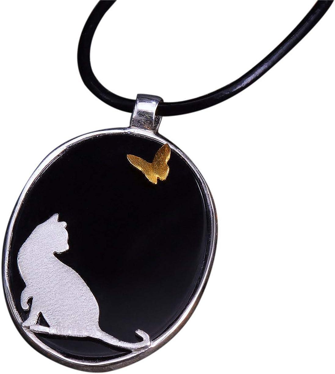 NicoWerk SAN175 - Colgante de plata de ley 925 para mujer, diseño de gato, ágata negra con piedra preciosa, ovalado, tamaño grande