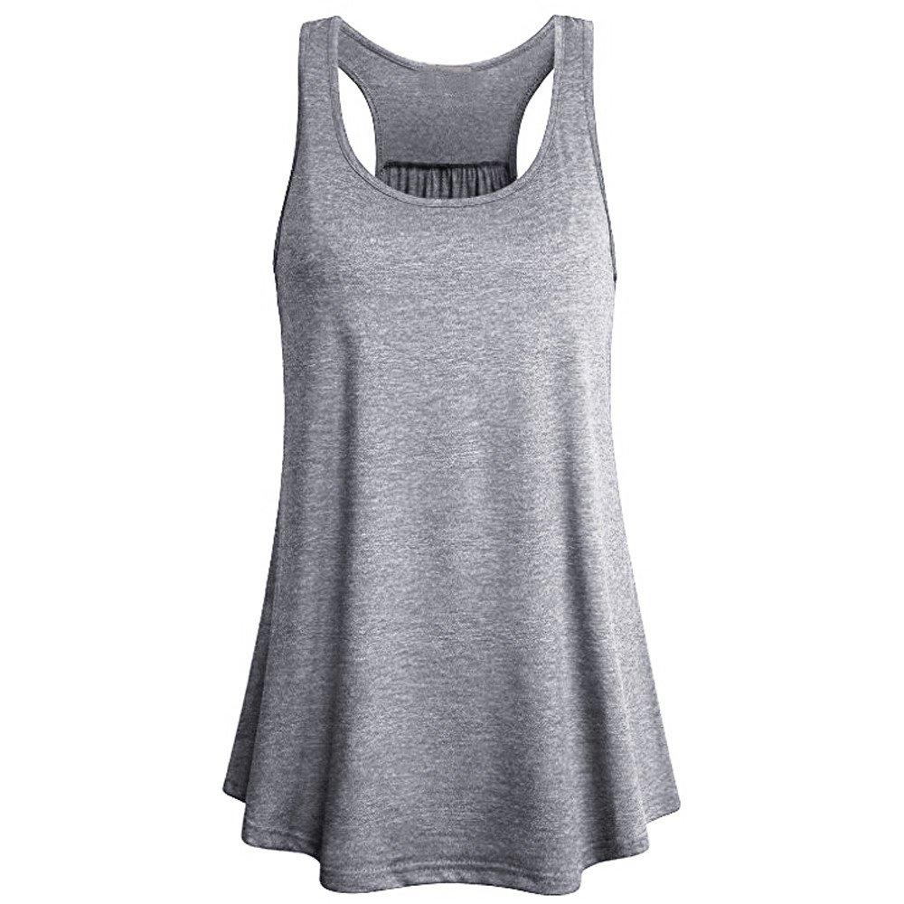 Women's Tank Tops Yoga Sports Sleeveless Round Neck Racerback Workout Running Top Camisole Vest (XL, Gray2)