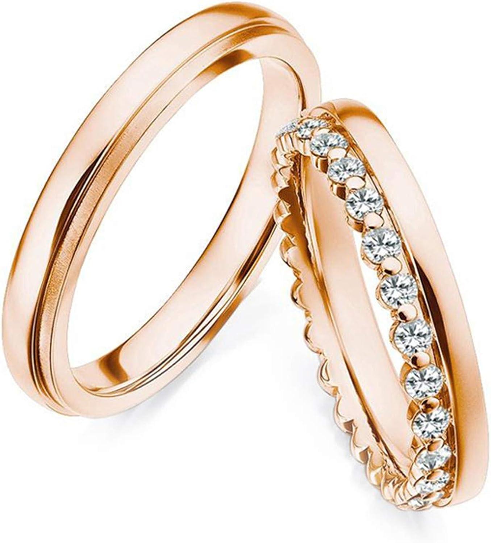 Epinki Anillo Oro Rosa 18k Clásico Redondo Diamante 0.36ct Anillos de Compromiso para Hombre