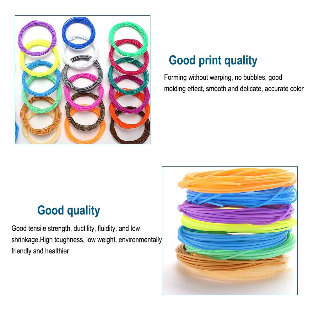18 Colore Materiali 3D Penna Filamento Ricarica Stampante Filamenti 5M per la Stampa 3D Hobby Creativi Mitening Filamento PLA 1.75mm Niente Bolle Daria Insapore