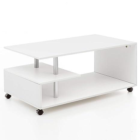 Tavolino Salotto Con Rotelle.Tavolino Design 105 X 48 5 X 60 Cm Bianco Ruotabile Con