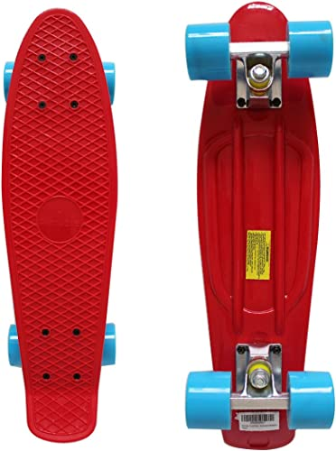 Rimable Complete 22 Inches Skateboard red with blue wheels