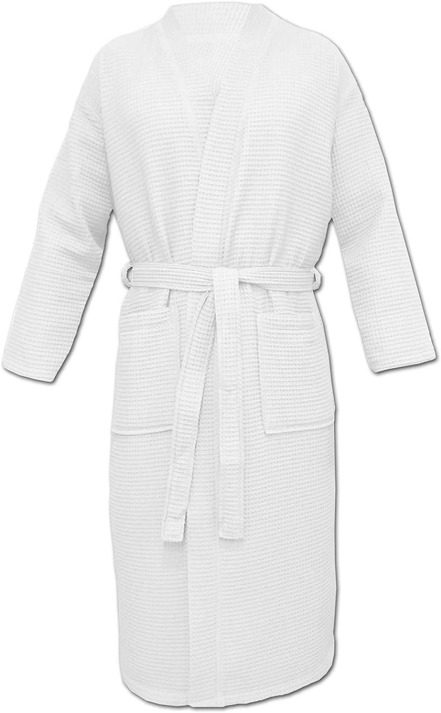 HOMELEVEL Peignoir de voyage Piqu/é Peignoir 100/% coton Femmes Hommes Oversizes Kimono Sauna Robe de chambre Piqu/é