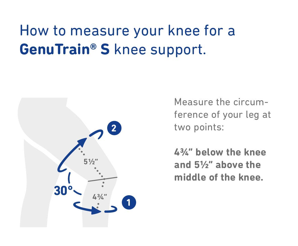 Bauerfeind - GenuTrain S - Knee Support - Extra Stability to Keep The Knee in Proper Position - Left Knee - Size 1 - Color Black