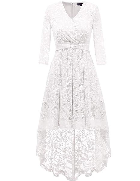 83740c825c4d Dresstells Donna Vintage Vestito Pizzo Casual Cerimonia Maniche Lunghe  Colletto a V  Amazon.it  Abbigliamento