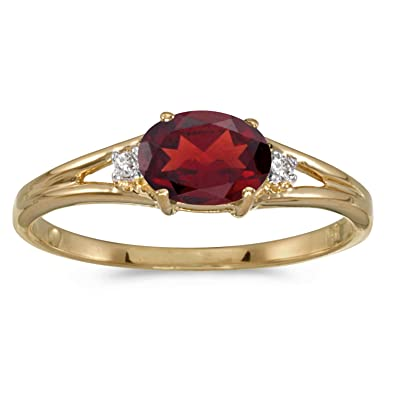 Amazoncom 14k Yellow Gold Oval Garnet And Diamond Ring Jewelry
