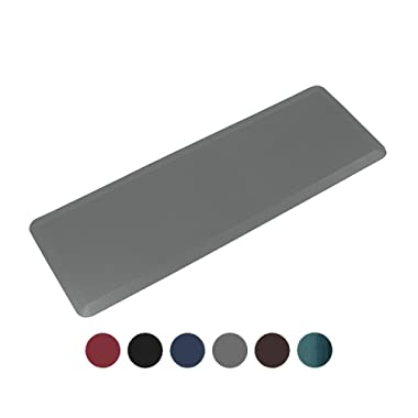 Anti Fatigue Comfort Floor Long Kitchen Runner Mat By Sky Mats - Commercial Grade Quality Perfect for Standup Desks, Kitchens, and Garages - Relieves Foot, Knee, and Back Pain, 24  x 70  x 3/4 , Gray