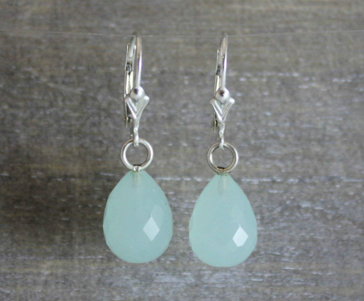 Faceted Chalcedony briolette drops faceted garnet and sterling silver earrings