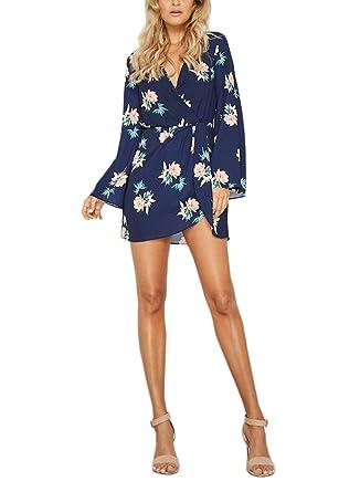 c06af91e23 FFLMYUHULIU Women s Sexy V-Neck Floral Print Casual Long Sleeve Wrap Short  Mini Dress (