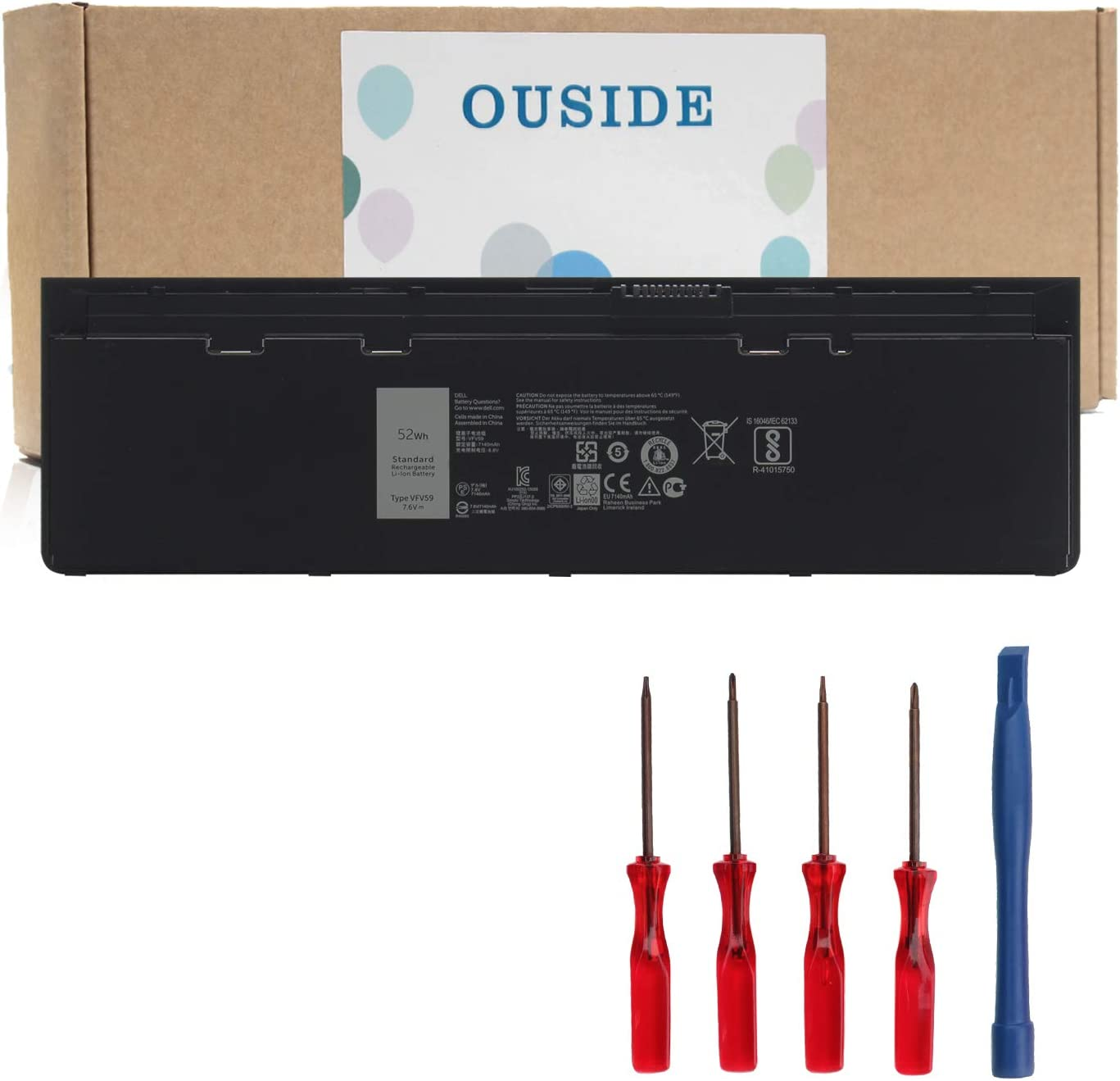 OUSIDE VFV59 Laptop Battery OEM Compatible with Dell Latitude E7240 E7250Series Notebook GVD76 WD52H F3G33 HJ8KP W57CV 451-BBFX 451-BBFW Battery Replacement [7.4V 52Wh/4Cell]