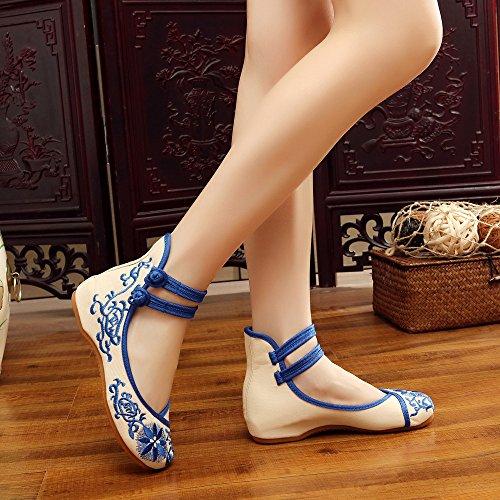 GuiXinWeiHeng xiuhuaxie Zapatos bordados, lenguado del tend¨®n, estilo ¨¦tnico, zapatos de tela femenina, moda, c¨®modo, casual dentro del aumento blue