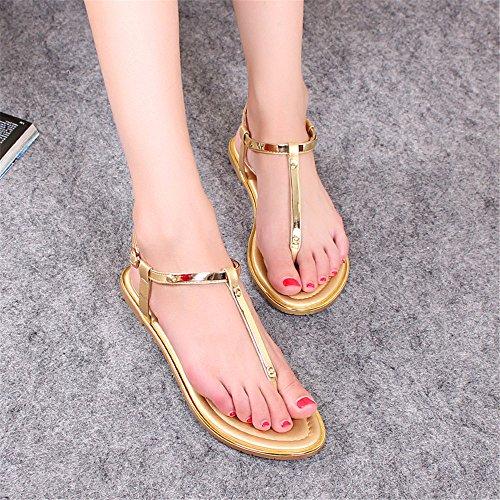 ShangYi Summer flat sandals female summer feet casual student shoes sandals toe size Rome shoes Golden cvVIhD