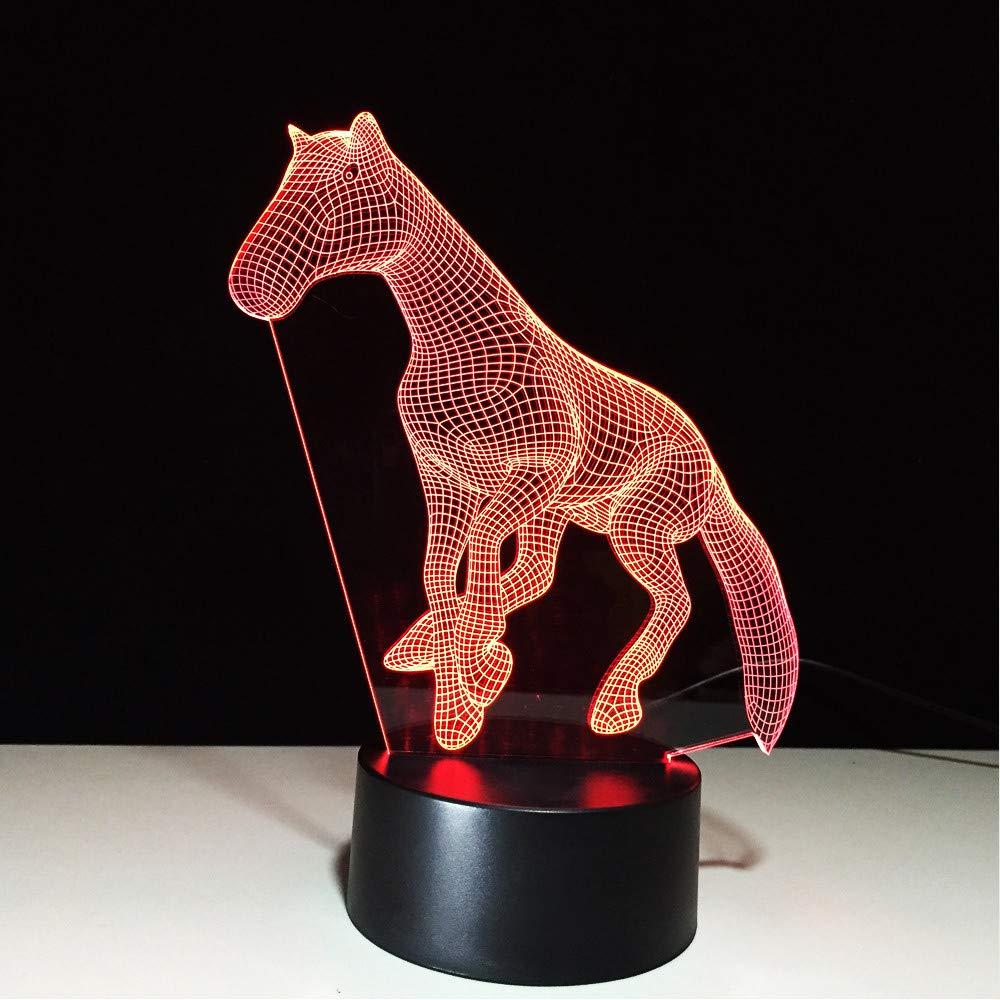 Colores Light 3d Novedad 7 La Animal Cambiantes Horse De Night N80ywmnPvO