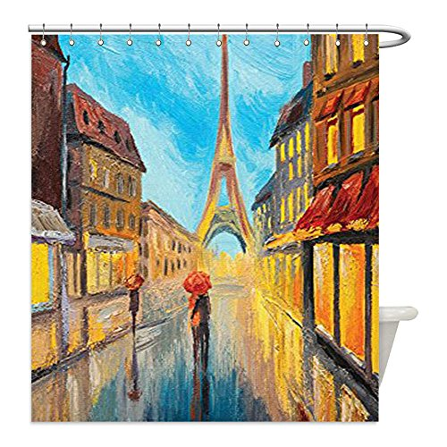 Liguo88 Custom Waterproof Bathroom Shower Curtain Polyester Lakehouse Decor Collection Couple with an Umbrella Walking on a Historical Street to Eiffel Tower Paris France Romantic Evening Orange - Sunshine Walking On Review