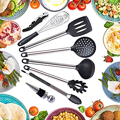 Kitchen utensils set - cooking utensils - kitchen tools - spatula - wine bottle opener stopper - spatula - tongs - whisk - soup ladle - pasta server - nonstick utensils - corkscrew - stainless steel
