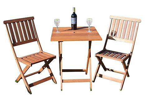 Bistro de jardín en madera maciza, alta calidad, con mesa ...