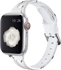 Henva Compatible with Apple Watch Band SE 40mm 38mm for Women Men, Soft Silicone Narrow Replacement Thin Cute Strap with Fadeless Print Pattern for iWatch 6/5/4/3/2/1, Black/White Marble