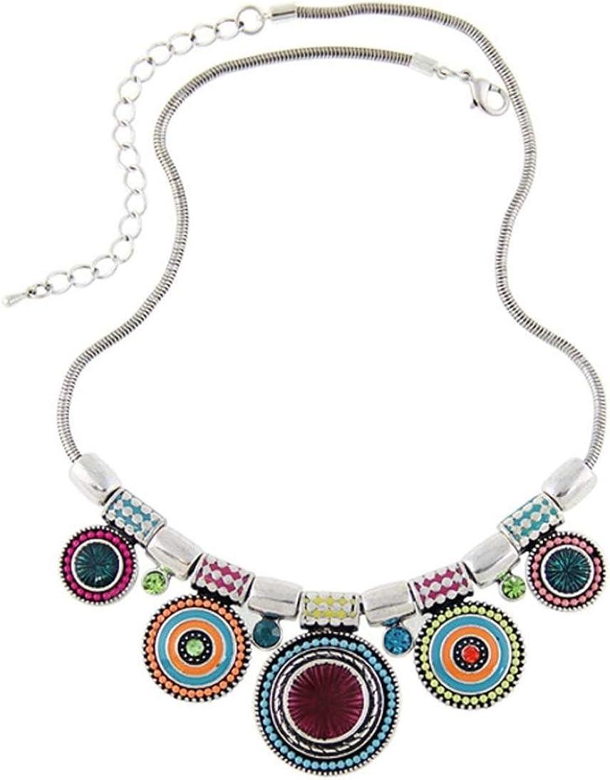 SMARTLADY Mujeres Moda Collar de Étnica Vintage Colgante Gargantilla de Coloreado