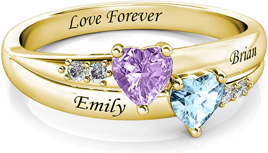 Personalised Promise Ring Sterling Silver Custom 2 Simulated Birthstone 2 Name Mum Rings Engagement Rings For Her Women Girlfriend