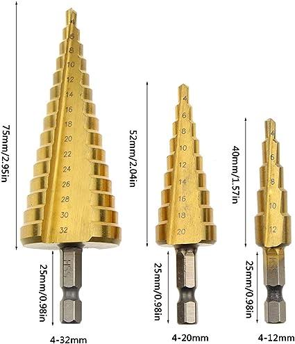 XMEIFEI PARTS Drill bit Set Cone Drills Bit 12mm//20mm//32mm 3Pcs HSS Spiral Grooved Step Hole Cut Tools Long Drill bits