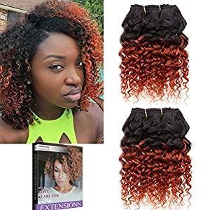 Emmet 2pcs/lot 100g Short Wave 8Inch Brazilian Kinky Curly Human Hair Extension, with Hair Care Ebook (1B#/350#)
