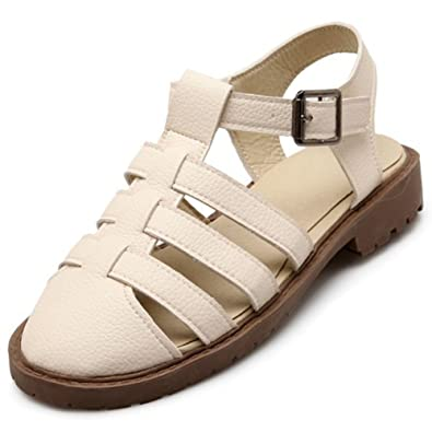 80359ee8004f Summerwhisper Women s Trendy Buckle T-Strap Cut Out Round Closed Toe Low  Heel Gladiator Sandals