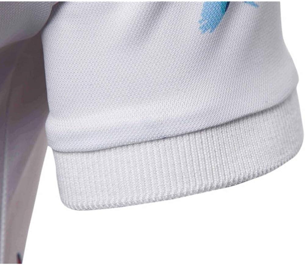 CY Summer Mens Lapel Fashion White Bird Print Short Sleeve T-Shirt Polo Shirt
