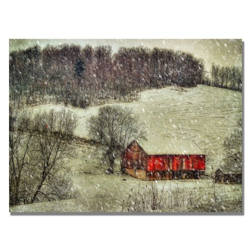 Snowy Cabin by Lois Bryan, 22×32-Inch Canvas Wall Art
