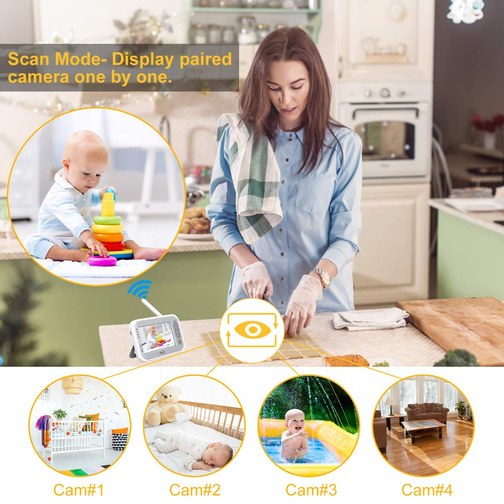 LBtech Video Baby Monitor with Two Cameras and 4.3'' LCD,Auto Night Vision,Two-Way Talkback,Temperature Detection,Power Saving/Vox,Zoom in,Support Multi Camera by LBtech (Image #9)
