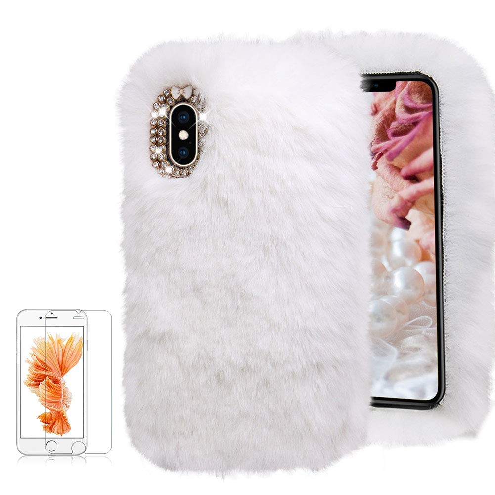 For iPhone XR Soft Warm Plush Case [with Free Screen Protector], Funyee Artificial Fluffy Villi Wool Cute Plush Soft Silicone TPU Case for iPhone XR 6.1 inch with Shiny Diamond, Pink Funyye